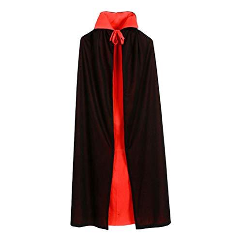 STOBOK Halloween Vampir Umhang Schwarz und Rot Vampir Umhang Vampir Kostüm (90cm gerader Kragen Doppelmantel)