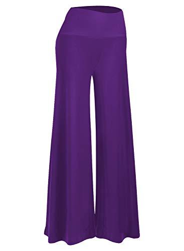 Arolina Palazzo Damen Stretch-Hose mit breitem Bein - Violett - X-Groß -