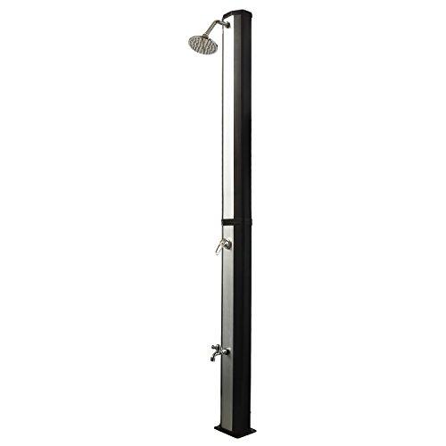 Nemaxx SD35FX Solardusche - silber Gartendusche mit UV-beständigem Wassertank 35 Liter - mit Fußdusche / Wasserhahn und schwenkbarem Regenduschkopf
