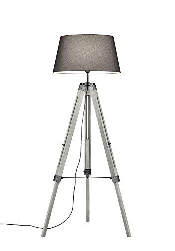 lightling modern Stehleuchte Tripod Lina mit Dreibein aus Holz, Stoffschirm grau, 1 x E27 max. 60W, ø 45 cm, Höhe 143 cm -