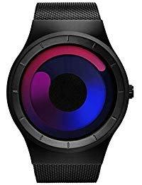 SINOBI Herren wasserdichte Swirl Dial Edelstahl Stylische Mode Sportuhr Uhren Mit Mesh Armband Schwarz Rosegold (Edelstahl Uhren G-shock Aus)