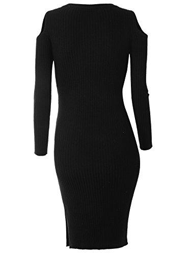 Wenseny Lange Ärmel Kleid Für Damen Rundhals Trägerlos Side Slits Bodycon Knielänge Kleid Schwarz