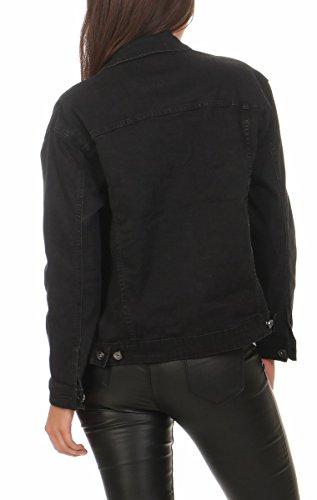 10150 Fashion4Young Damen Jeansjacke Damenjacke Jeans Jacke Kurze Jacke auch Übergrössen Schwarz