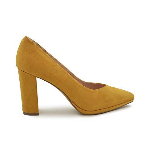 Zapato de salón tacón Ancho Mostaza