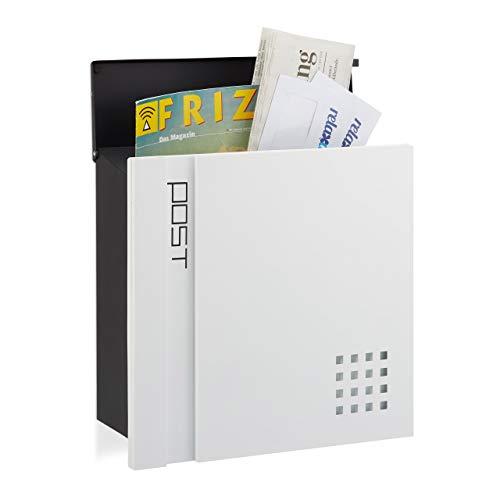 Relaxdays Briefkasten abschließbar, Din A4 Einwurf, Modernes Design, Wandbriefkasten, HBT: 37 x 37 x 15 cm, schwarz-weiß