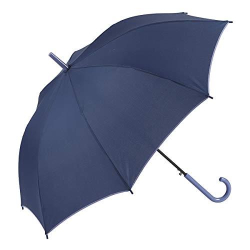 GOTTA Paraguas Largo de Mujer, antiviento y automático con puño Curvo. Tejido Liso - Azul 2, 19