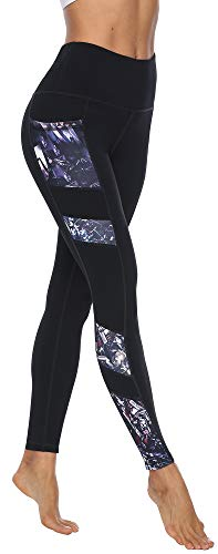Persit Sporthose Damen, Yoga Leggings Laufhose Yogahose Sport Leggins Tights für Damen Schwarz-S