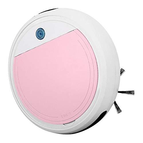 FLAMEER Robot Aspirador Tecnología Avanzada, Aspiradora, Barredora, Fregadora y Pasa Mopa USB Carga 15 Grados de Escalada - Blanco + Rosa