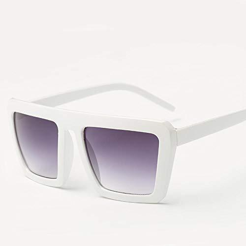 CYCY 2019 Unisex Sonnenbrille Trend Retro Sonnenbrille Anti-uv eckige Brille langes Gesicht New Sonnenbrille Leuchtend schwarz Mehrfarbig, echt weiß doppelt grau