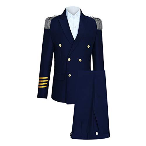 OHQ Modisch Herren 3-Teilig Anzug Weihnachten Party Suits Festliche Anzüge in Normalem Schnitt mit Mustern inkl Anzughosen Anzugjacken Kapitän Kostüme (Marine, XL)