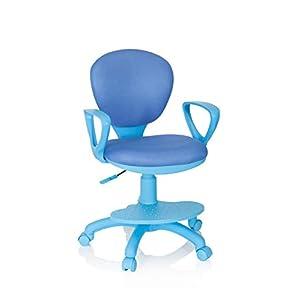 hjh OFFICE 671010 Kinderdrehstuhl Kid Colour G1 Stoff Blau/Grau Bürostuhl Kinder, Fußablage & Sitzfläche…