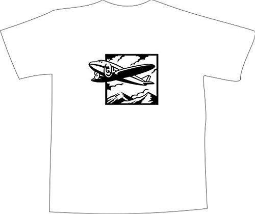 T-Shirt E1183 Schönes T-Shirt mit farbigem Brustaufdruck - Logo / Grafik / Design - abstraktes Ornament mit Flugzeug und Bergen Schwarz