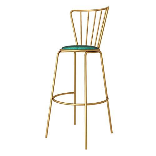 Metall Eisen Bar Stuhl mit gepolstertem Samt Sitz Counter Rezeption Höhe Stühle Barhocker für Pub, Bistro, Cafe, Beauty Salon, Barbershop - 5 Farben (Akzent-stuhl-tabellen)