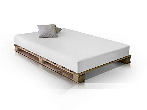 PALETTI Massivholzbett Holzbett Palettenbett Bett aus Paletten – Rustikal gebeizt - 6