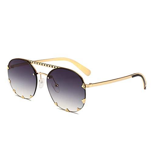 Unisex-Sonnenbrille für Erwachsene aus Metall mit UV-Schutz und farbigem Objektiv Brille (Farbe : Gold Frame Double ash)