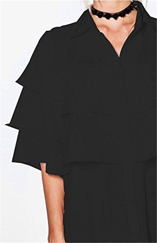 Moda a mezze maniche Multi Tiered a volant fondo Bottoni Abbottonatura sul davanti Mini Corte Corta Shift Boxy dritto chemisier Dress Vestito Abito Nero