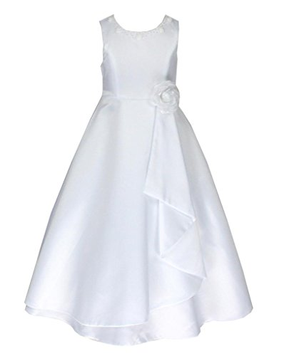 go2victoria Satin Brautjungfern Anlässe Festkleid Mädchen Weiß Kleid Gr.110/116 (W6680-4#)