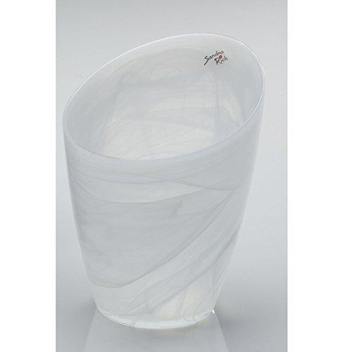Vase, Glasvase, Blumentopf ALABASTER, Glas, weiß, 18x15cm