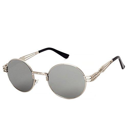 ProProCo Sonnenbrille UV 400 Runde Polarisierte Getönte Retro Brille für Damen und Herren Vintage Unisex Fashion Brille Retro Sunglasses Steampunk Brille (Grau)