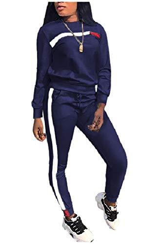 Blue-cashmere Crewneck Pullover (CuteRose Women's Drawstring Crewneck 2pcs Pullover Sport Jumpsuits Outfits Blue L)