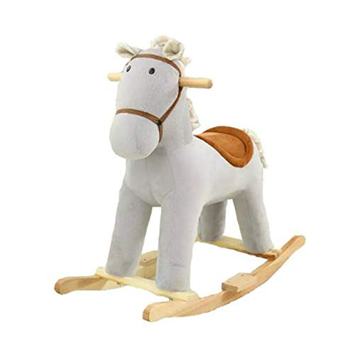 Y-Yaoyi Plüsch Schaukelpferd Spielzeug - Braunes/Blaues Pferd, Hölzernes Schaukelpferd Für Kinder 1 2 3 Jahre, Geschenk Für Kinder 6 18 36 Monate,A
