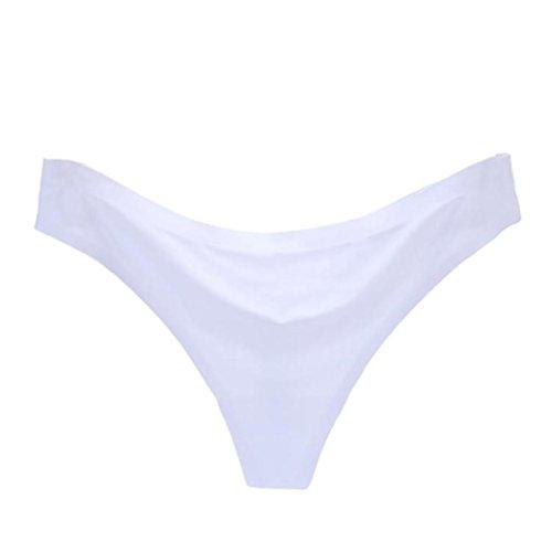 KOLY Intimo femminile invisibile Slip G-Strings Ice Silk senza cuciture Mutandine perizoma Intimi Mutandine Sexy da Donna Attraente Mutandine Perizoma con Pizzo Mutandine T-back Sexy White