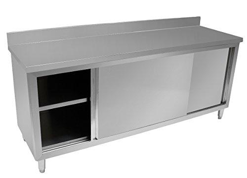 Beeketal'BSA200' Gastro Edelstahl Arbeitstisch Küchenschrank mit Schiebetüren, Unterschrank mit justierbaren...