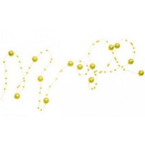 Au plaisr des yeux - Guirlande de perles sur fil métal jaune 130 cm