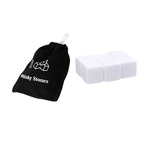 6PCS Whisky Eis Steine Wein Getränke Kühler Cubes Whiskey Rocks Granit Tasche 2x2x2cm weiß -