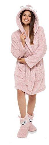 Damen Tier Robe mit Kapuze Bademantel Winter warm Fleece Insignia - pink Fox with7-8 Stiefel, Medium (Fleece-winter-stiefel)