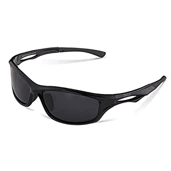 DUCO Polarized Sports Sunglasses for Running Cycling Fishing Golf TR90 Unbreakable Frame 6199 Black Frame Gray Lens