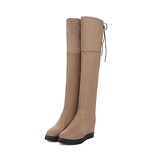 AgooLar Damen Hoher Absatz Rund Zehe Schnüren Stiefel mit Knoten Cremefarben