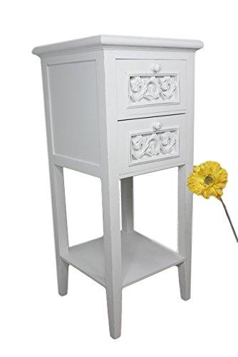 elbmöbel Telefontisch weiss aus Holz Landhausstil Antik mit Schublade schmal (Weiß, H83 x B36 x T36cm) (Kiefer Bauernhaus)