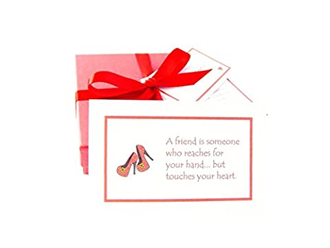 'Best of Friends' handmade friendship gift: 52 quote cards all about the joy & value of friendship, gift boxed & personalized with a poem & mini chocolate balls. Fab birthday / Christmas / new home / Thank you / friendship gift for your BFF! (High heeled shoe