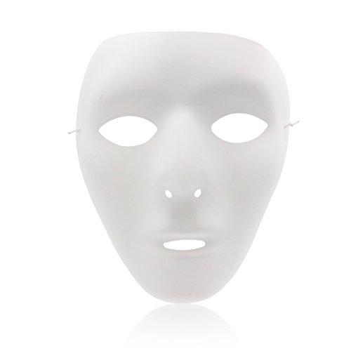 eiß Vollgesicht Theater Maske DIY Masken Maskenmaske für Party, Hochzeit, DIY Fasching Karneval Masken DIY Fasching Karneval Maske Weiß ()