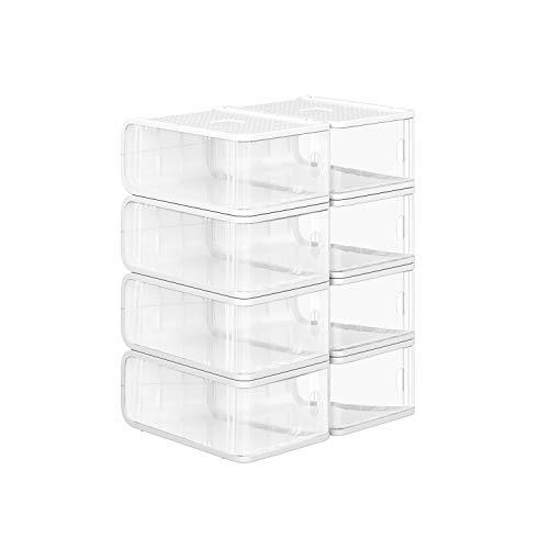 SONGMICS Cajas de Plástico para Zapatos, Paquete de 8, Organizador de Almacenamiento de Zapatos Apilable...
