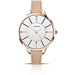 Sekonda Women's Quartz Watch with White Dial Analogue Display and Rose Gold PU Strap 2013.27