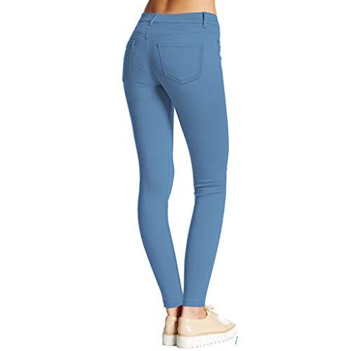 Andouy Pantaloni Yoga Donna Yoga Pants Leggings Collant Elasticizzati per Pantaloni a Vita Alta(Blu,S)