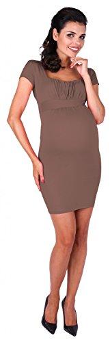 Zeta Ville - maternité robe de grossesse à taille froncée M-3XL - femme - 081c Cappuccino