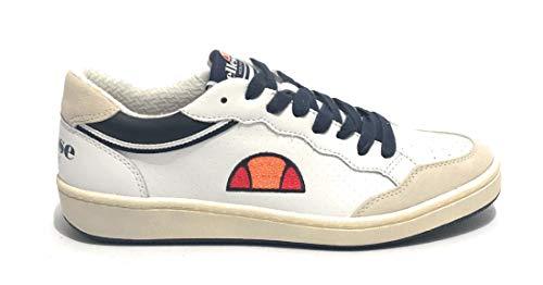 Ellesse Scarpa Uomo Sneaker MOD. Perugia in Pelle/CAMOSCIO Bianco/Blu Scuro US19LS02