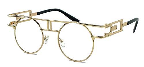ausgefallenes Brillengestell im 90er Jahre Vintage Look Designerbrille Nerdbrille Modebrille Klarglas rund (Gold/Clear Lens)