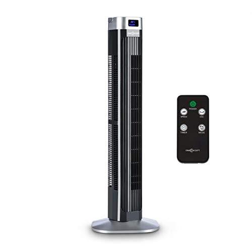 oneConcept Hightower 2G Ventilatore A Torre Colonna (Altezza 94,5 cm, 50 Watt, Oscillazione 45°, display LED, Timer, Modalità notturna, Telecomando) Nero