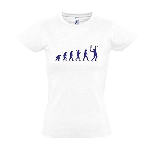 Damen T-Shirt - EVOLUTION - Tennis Sport FUN KULT SHIRT S-XXL , White - blau , L