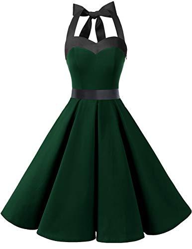 Dresstells Damen Neckholder 1950er Vintage Retro Rockabilly Kleider Petticoat Faltenrock Cocktail Festliche Kleider Dark Green XS - Frauen Cocktail Für Grüne Kleider