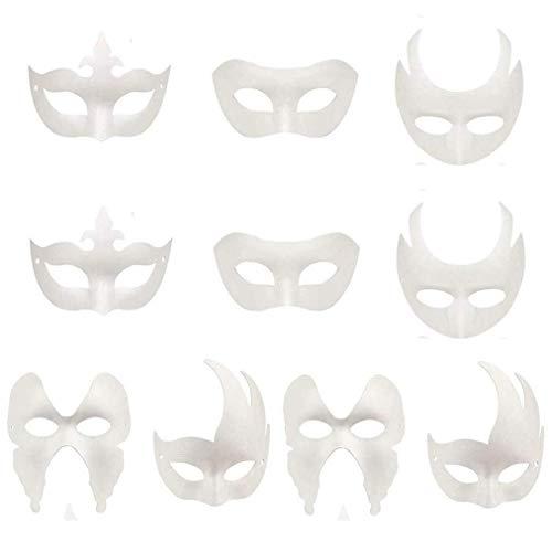 sken, DIY Masken Masquerade Ball Party Maske Anonym Masken für Malerei Kinder für Halloween Karneval Cosplay Handgemalte Design Maske (10 Stücke) ()