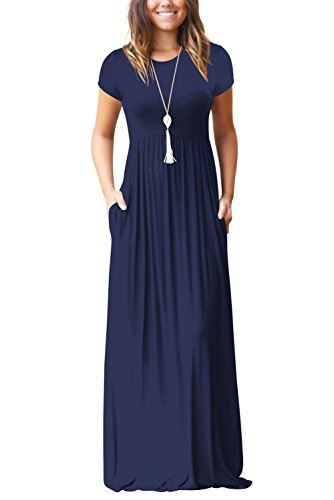 Maxikleid Tasche Casual Loose Lang T-Shirt Kleid In Voller Länge Kurze Ärmel Kleid Dunkelblau XL (Kurze Lange Ärmel T-shirt)