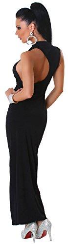 Jela London Damen Maxikleid einfarbig mit tiefem Rückenausschnitt Schwarz