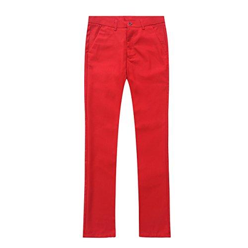 Herren 3-Teilig Slim Fit Anzug Smoking Anzugjacke Hose Weste von Allthemen Rot