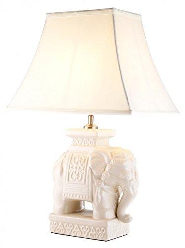 Casa Padrino Luxus Tischleuchte Keramik Rot/Beige Messing - Leuchte - Luxury Collection