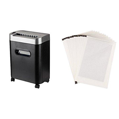 AmazonBasics Aktenvernichter, 7-8-Blatt, Partikelschnitt, mit herausziehbarem Auffangbehälter für Papier/CDs/Kreditkarten und Schmiermittelblätter, 12 Stk.